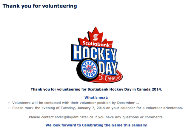 January 18th; we will take part in Hockey Day in Canada