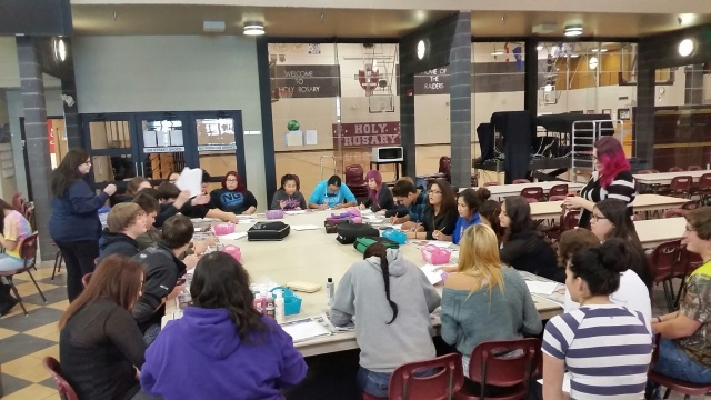 Here are many of our family members all working on our project. Students came everyday this week to paint, draw and support one another! Looks like we will have to finish up in December. Lots of talk of the Cree Christmas play has been taking place this week.