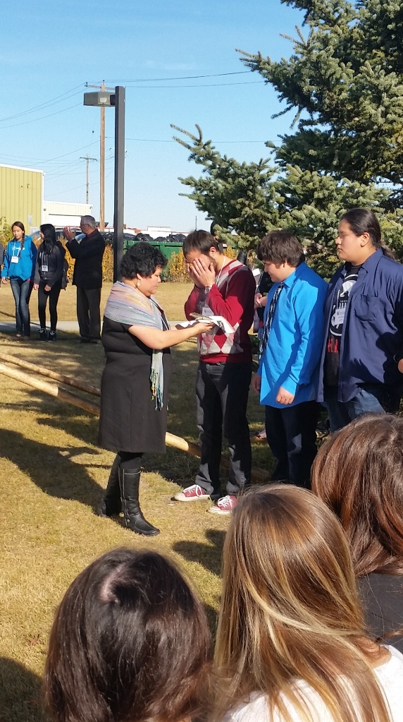 We are so honoured to have Mrs. Young recognized with the gift of smudging. Having her share this with our school is amazing and featuring her at the Summit was so special as well.