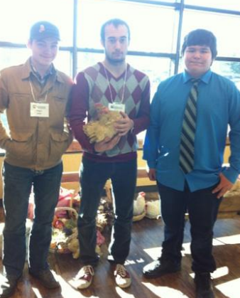 Here are three of our mentors all dress up, (with a chicken), at the Summit!  #dreamfamily